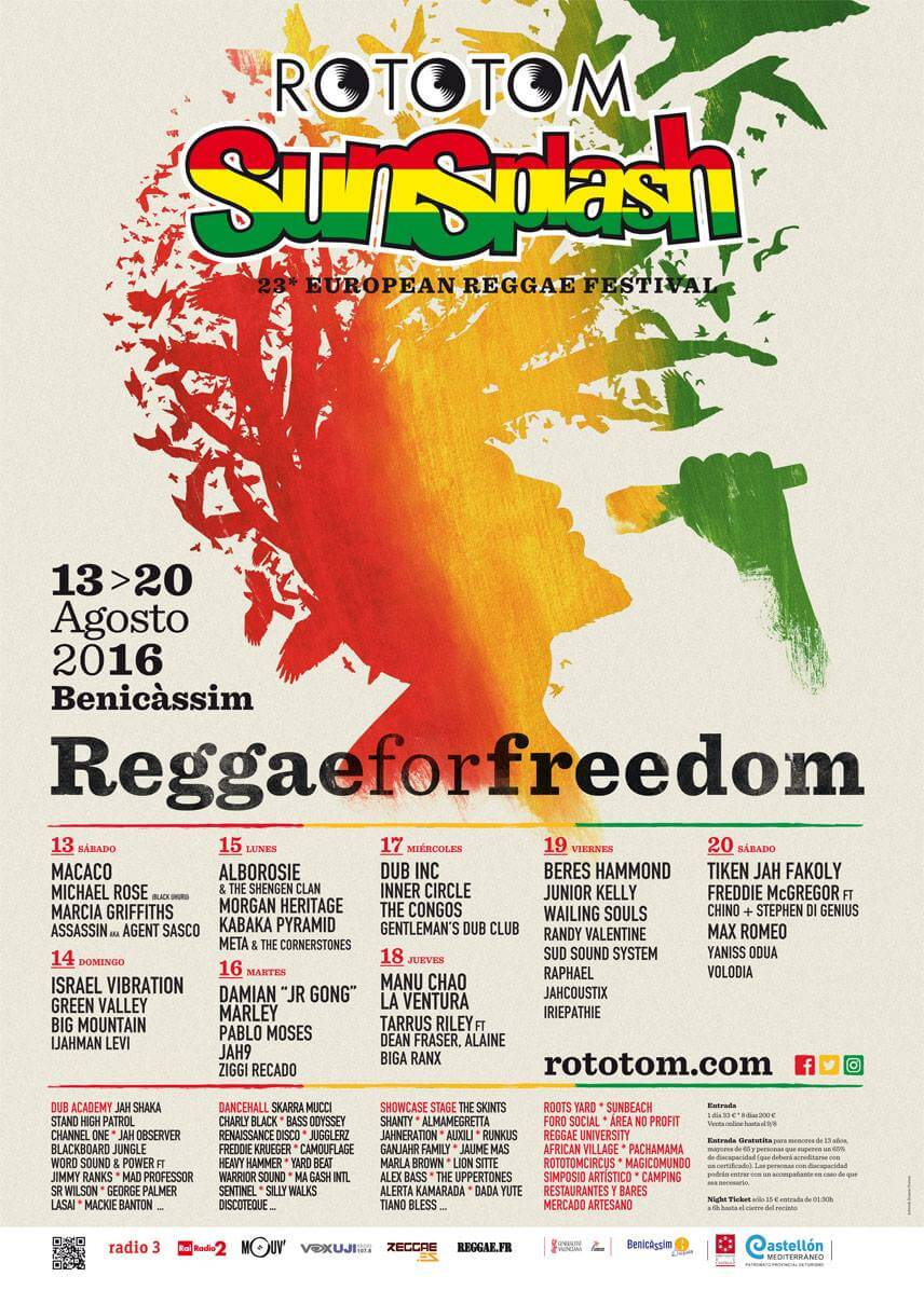Программа фестивалья музыки регги Rototom Sunsplash 2016 в городе Benicassim, Valencia (Беникасим, Валенсия) в Испании